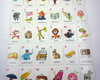 Vintage 1950s Children's Flash Cards with Pictures Words and Alphabet Letters Set of 30