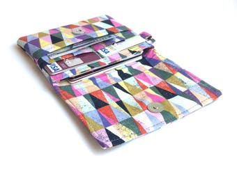 slim women wallet fabric card organizer. shabby chic ladies small cotton material minimalist card holder case. wristlet
