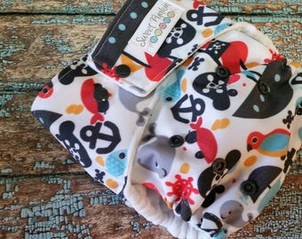 One Size Pocket Cloth Diaper Playing Pirates 15-40 lbs