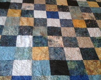 Shabby Chic King size blue, green, gold and tan batik  quilt
