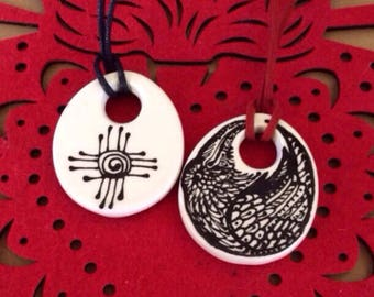 Zia Raven Talisman Pendant Handpainted Ceramic Ready to Ship