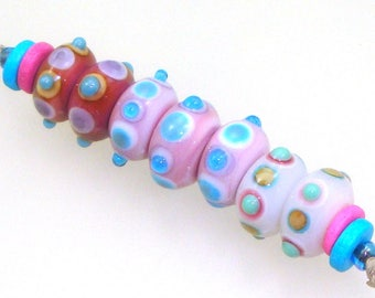 Handmade Lampwork Glass Beads - 2 pairs & a trio. Stacked dots on EDP purple, dark pink, light pink. Earring pairs, jewelry supplies.
