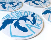Great Lakes coaster set (set of 4) - Made in Michigan - Michigan Art - Great Lakes Art - MI artist