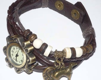 Brown Wrap Bracelet Watch w Bronze Wing/Heart and Greyhound Dog Charms