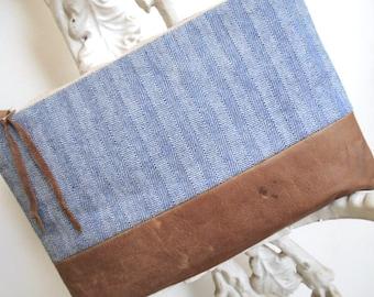Herringbone denim, leather clutch, iPad mini bag, utility pouch - eco vintage fabrics