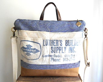 Stripe denim, lumber apron tote bag, carryall - hickory selvedge denim - eco vintage fabrics