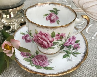 TEA - Vintage - Teacup and Saucer - from England  - Orleans Rose