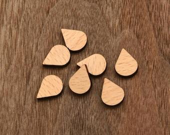 8 pcs Waterdrop Teardrop  Geometry Wooden  Cabochons  (WS-132)