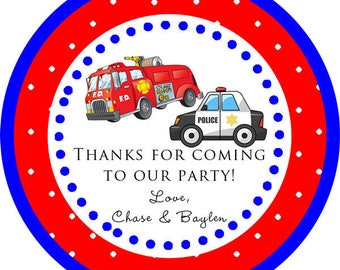 DIY Printable File- Police Car Police Man Fire Truck Party thank you round sticker label for birthday party, baby shower- Avery Label 22807