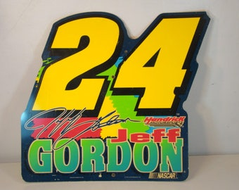 Vintage Nascar Sign Vintage Jeff Gordon Sign 1998 JG Motorsports #24 Car Racing Sign Vintage Racing Man Cave Decor