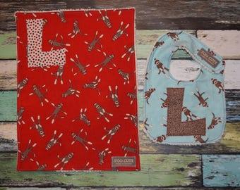 Baby Boy Gift  - 2 piece set -  in Sock Monkey prints - 1 INFANT BIB & 1 TOWEL