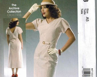 1933 McCalls 7153 Sewing Pattern Vintage Style Sizes 14-16-18-20-22 Retro Reissued