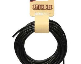 Beadsmith Black Leather Cord 3mm/5yds