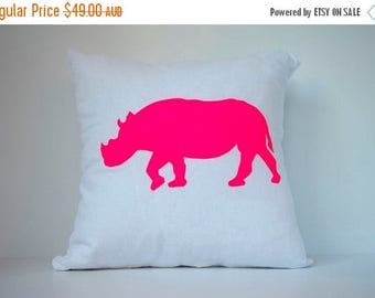 ON SALE Rhino in Neon Pink on White - Hand Printed Cushion Cover - Linen Cotton - 40cm x 40cm