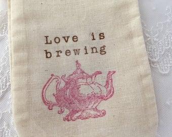 Pink Tea Party Bags, Love is Brewing Teapot Favor Muslin Bags, SET OF 10