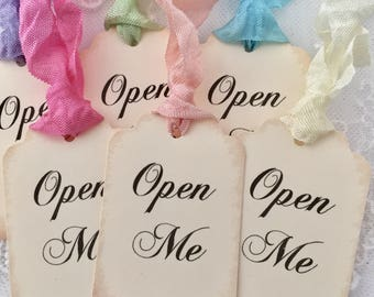 Open Me Tags, Open Me Favor Tags, Alice In Wonderland Favor Tags, Bridal Shower, Baby Shower Set of 10