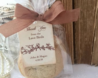 Love Bird Wedding Cellophane Treat Bags, Bird Cello Food Cookie Candy Bags, Tags, Ribbon, Set of 10