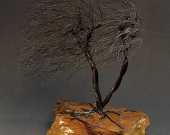 Windswept  Copper wire tree sculpture -  2318  - FREE SHIPPING