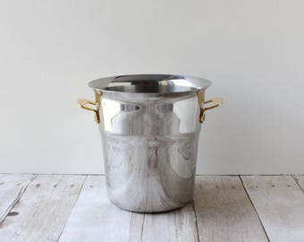 Spring Goldstar Champagne Ice Bucket / Stainless Wine Chiller / Silver Chrome Tone Bucket Made in Switzerland