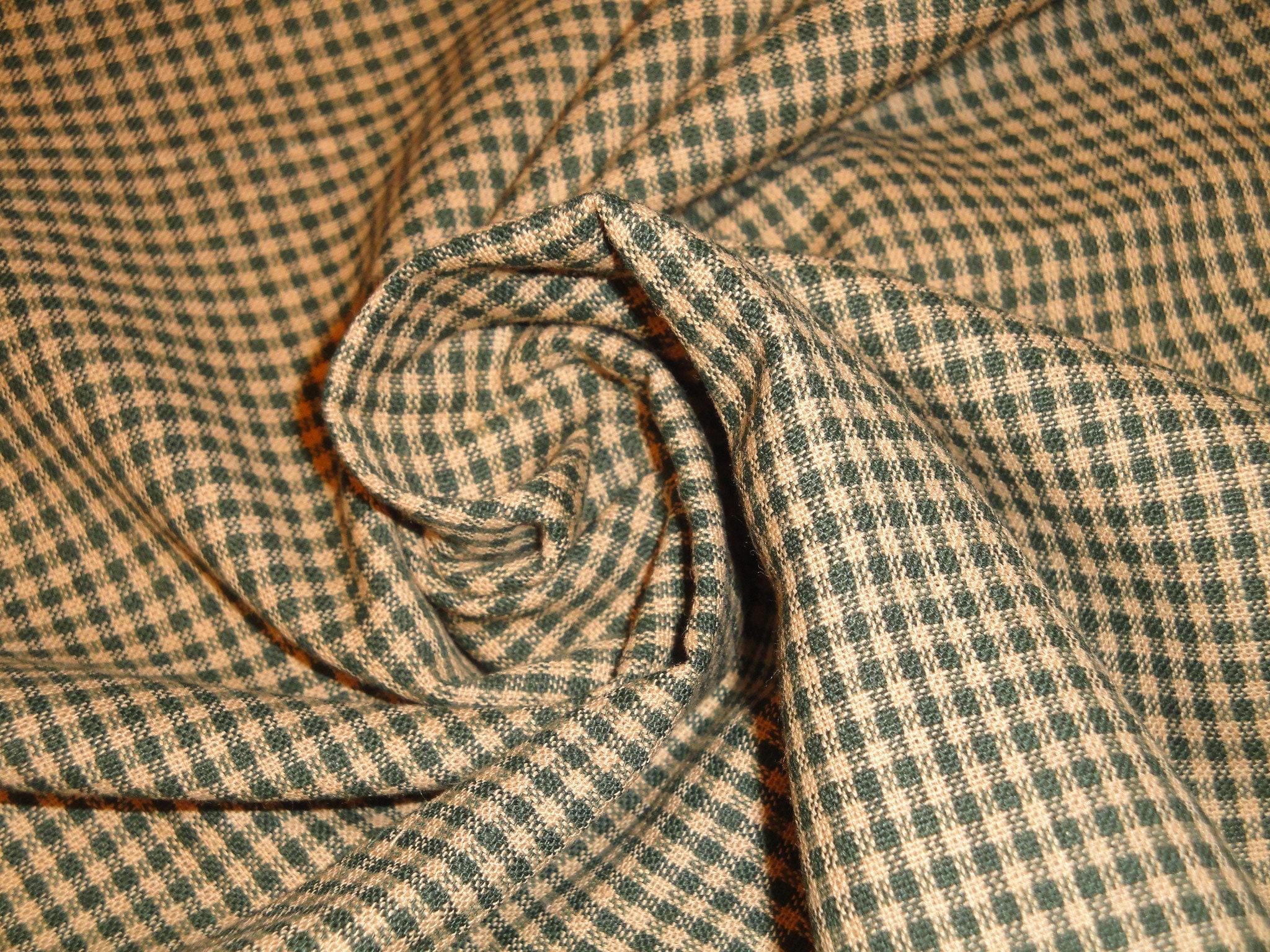 Green Check Homespun Fabric Green Small Check Fabric