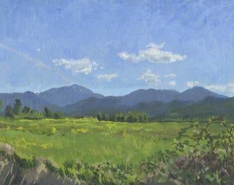 Wagner Butte with Blackberries: Original Oil Painting Plein Air Landscape