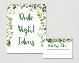 Rustic Green Floral Bridal Shower Date Night Ideas / Floral Bridal Shower / Watercolor Floral / Leaves / Printable INSTANT DOWNLOAD B115