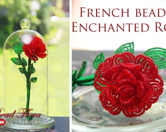 Pattern/Video class - French beaded enchanted rose tutorial and pattern - pdf