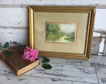 Vintage Antique Picture - Framed Art - Gesso Frame - Small Print
