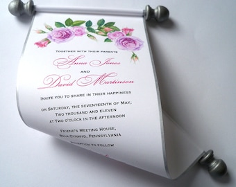 Floral wedding invitations, scroll invitations, watercolor roses, mauve pink and silver, wreath invitation, summer wedding invitations, 10