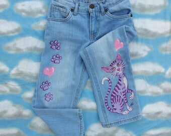 Girls Jeans/Kids Fashion/Art For Kids/Cat Art/Cat Painting/Upcycled Art/Painted Fabric/Painted Denim