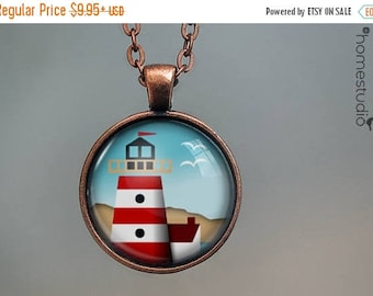 ON SALE - Lighthouse (BRN) : Glass Dome Necklace, Pendant or Keychain Key Ring. Gift Present metal round art photo jewelry by HomeStudio