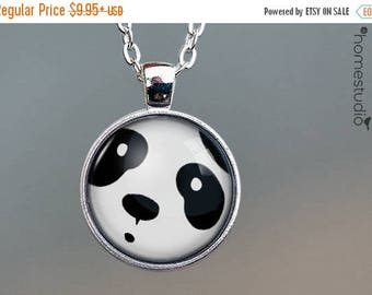 ON SALE - Panda Face : Glass Dome Necklace, Pendant or Keychain Key Ring. Gift Present metal round art photo jewelry by HomeStudio