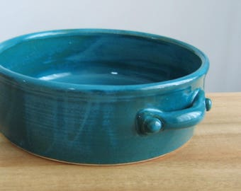 Brie Baker, Pottery Casserole Dish, Ceramic Cheese Server in Peacock Blue / Green, Wheel Thrown Stoneware Chef Gift, Handmade Gourmet Gift