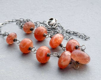 Orange Sunstone Necklace for Women, Sunstone Jewelry, Sparkly Orange Stone Necklace, Oxidized Sterling Silver  #3580