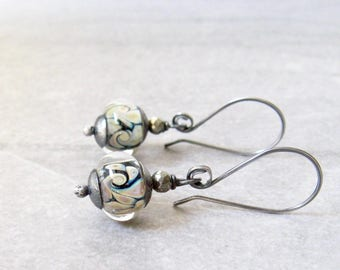 lampwork glass dangle earrings, silver earrings, oxidized jewelry, rustic earrings, boho black dangle earrings