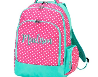 Monogrammed Backpack Polka Dots, Hot Pink Mint, School Personalized