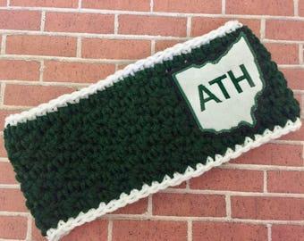 Women's // Crochet Headwrap // Headband // Earwarmer // OU - Oh Yeah!  / Green // Handmade