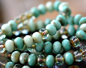 Water Dew - Premium Czech Glass Beads, Transparent Aqua, Light & Dark Opaque Turquoise Green, Picasso, Firepolish, Rondelles 7x5mm - Pc 15