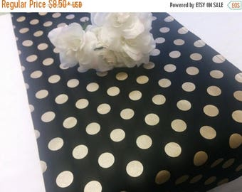 ON SALE GOLD Dot Table Runner -  Napkins - or Placemats -Centerpiece Rounds, Squares , Black Gold dot runner -  polka dots white black,  bri