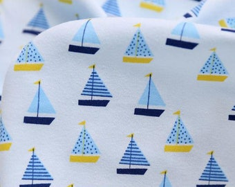 4622 - Sailing Boat Cotton Jersey Knit Fabric - 73 Inch (Width) x 1/2 Yard (Length)