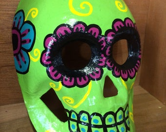 Dia de los Muertos style paper mache skull mask handpainted