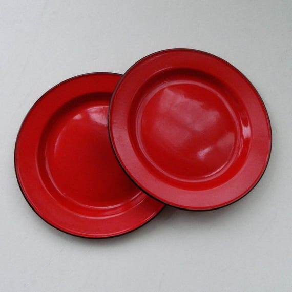 Pair of 2 Red Enamelware 10 Inch Plates