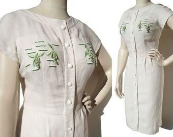Vintage 60s Novelty Dress Pea Pods & Beads M – Brielle Creations Original