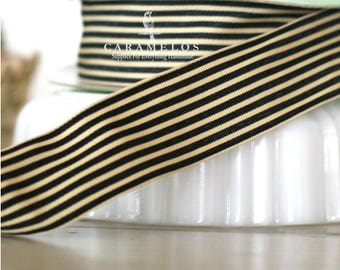 Black and Cream Stripe Grosgrain Ribbon