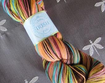 """One Skein Hand Dyed Artisan Adorn Sock Yarn """"Three Irish Girls"""" Colorway: NORA Merino Nylon Pinks Yellows Turquoise Purple"""