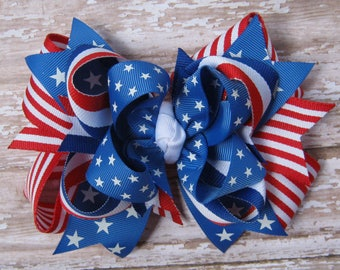 Large Layered STARS & STRIPES Red White and Blue 4th of July Boutique Hair Bow Independence Day Patriotic Girls Big Hairbow Fourth of July