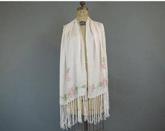 20% Sale - Vintage Hand Painted Floral Silk Scarf, 62 x 17 inches plus Fringe, Pink, early 1900s to 1920s
