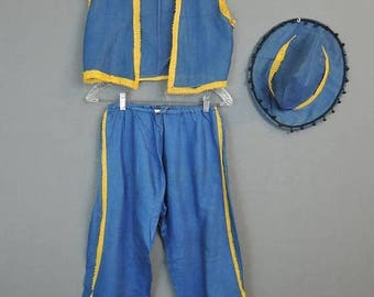20% Sale - Vintage 1930s Girl's Dance Costume Blue Pants, Vest & Hat with Yellow Trim, Halloween As Is