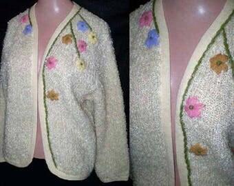 Vintage 60s Boucle Cardigan Sweater S M