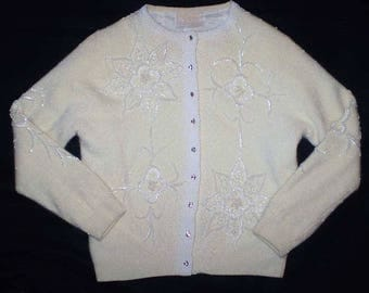 Vintage 50s Beaded Cardigan Sweater Rhinestone Buttons S